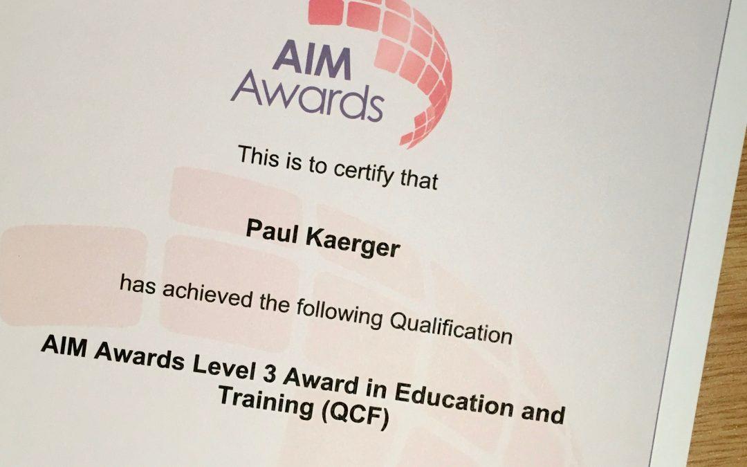 AIM Awards Certificate